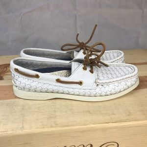 Sherry Top Sider Leather Loafer Shoe White NEW
